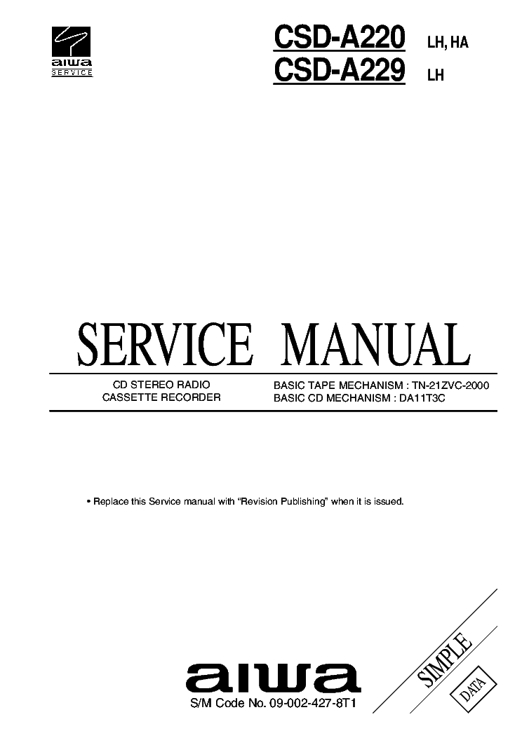 AIWA NSX-A999 NSX-S989 NSX-S999 Service Manual download