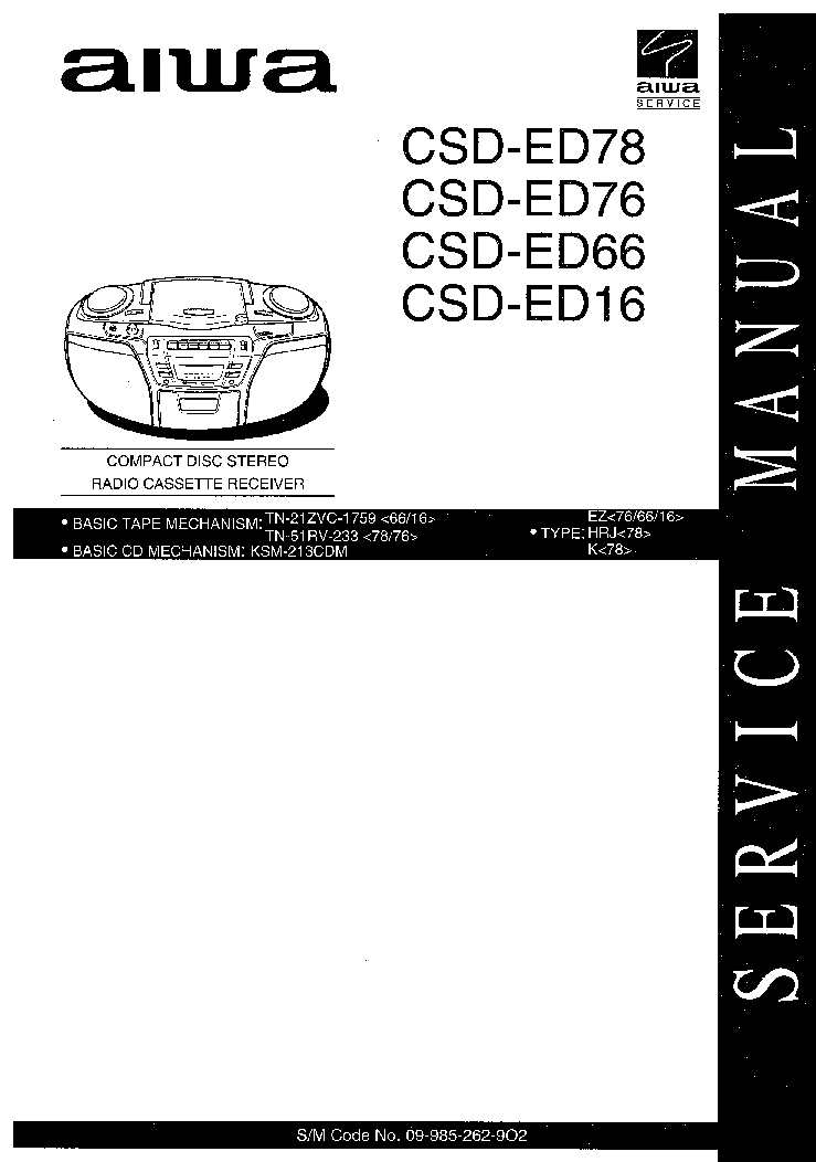 AIWA CX NSZ70LH Service Manual free download, schematics
