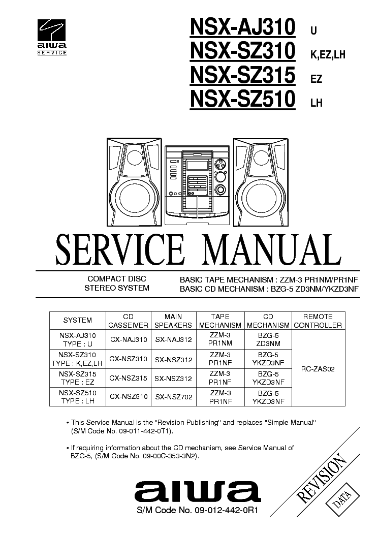 AIWA CX-NSZ310 LH Service Manual free download, schematics