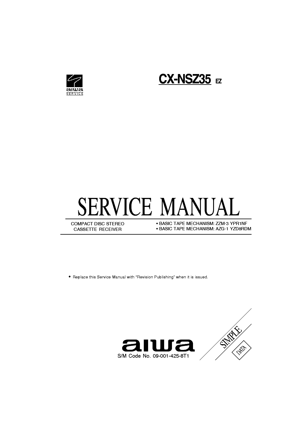 AIWA CX-NSZ35 Service Manual download, schematics, eeprom