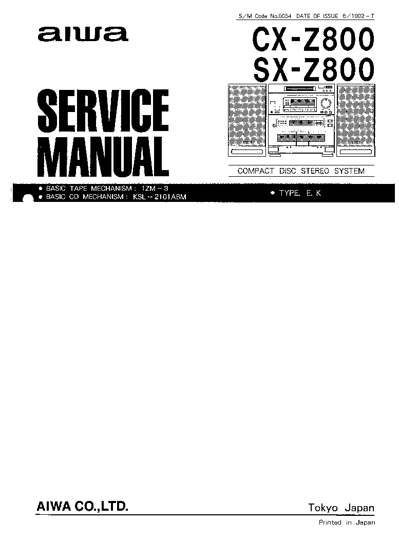 AIWA CX-Z800 SX-Z800 SM Service Manual download