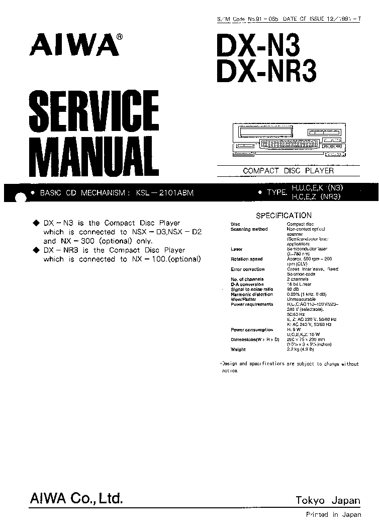 AIWA DX-N3,NR3 SM Service Manual download, schematics