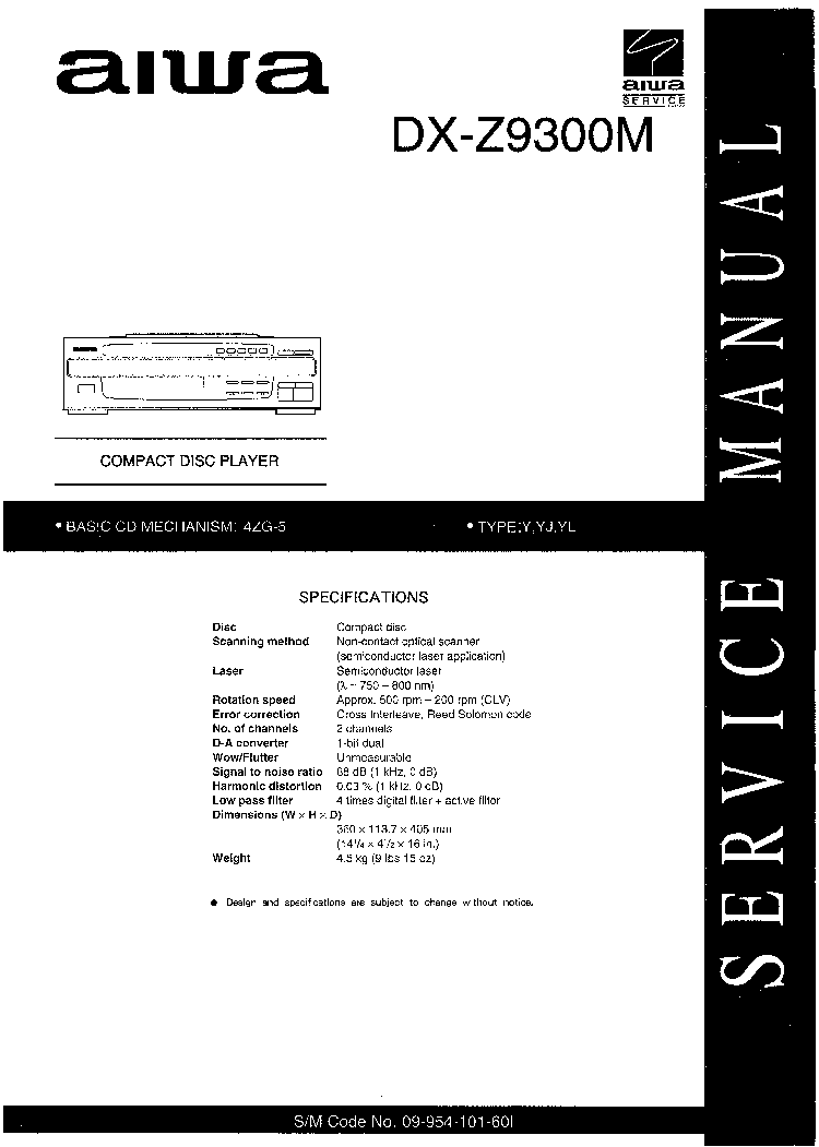 AIWA DX-Z9300M SM Service Manual download, schematics