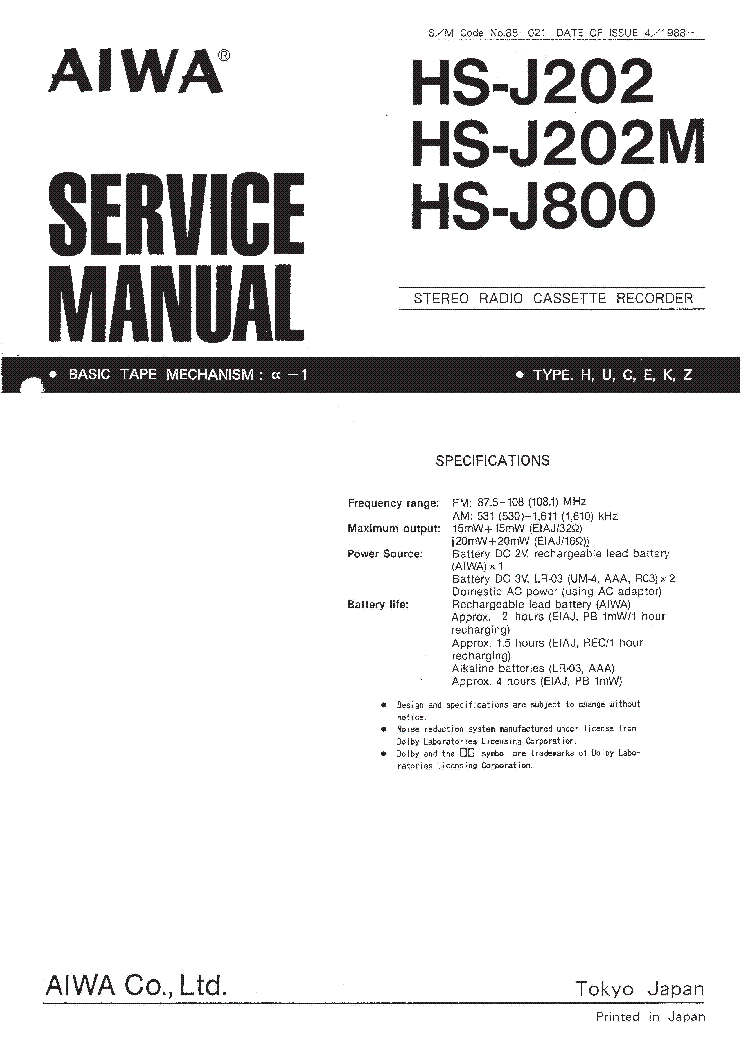 AIWA HS-J202 HS-J202M HS-J800 Service Manual download