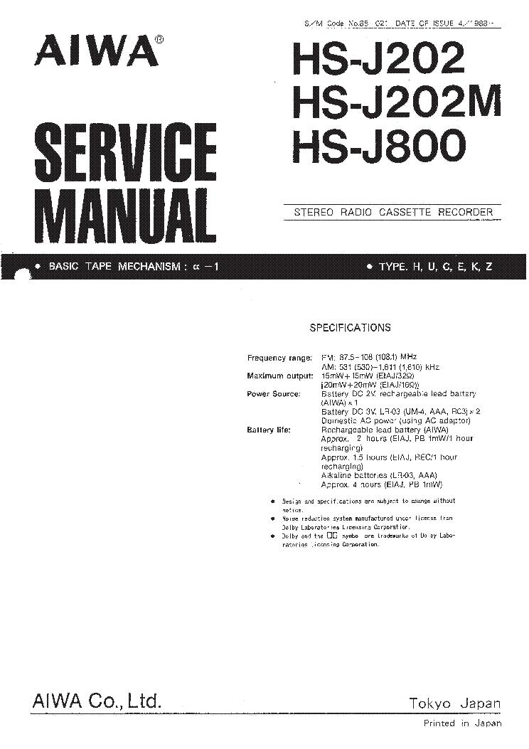 AIWA HS-J202 HS-J202M HS-J800 Service Manual download