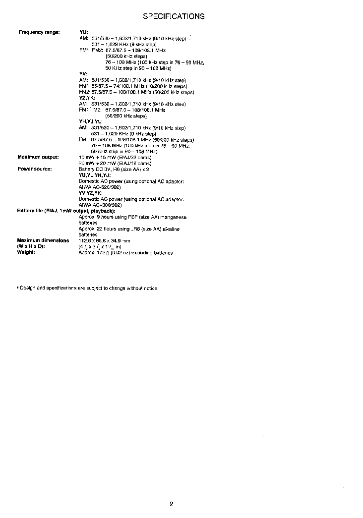 AIWA HS-TX486 HS-TX486V HS-TX586 Service Manual download
