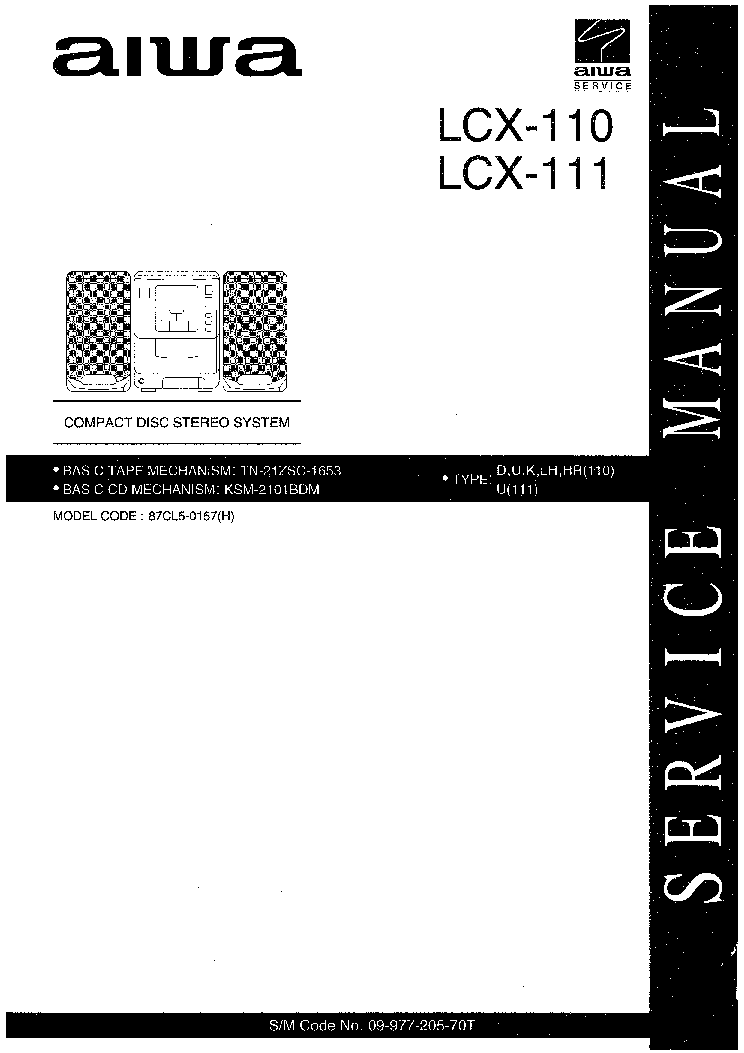AIWA LCX-111,LCX-110 Service Manual download, schematics