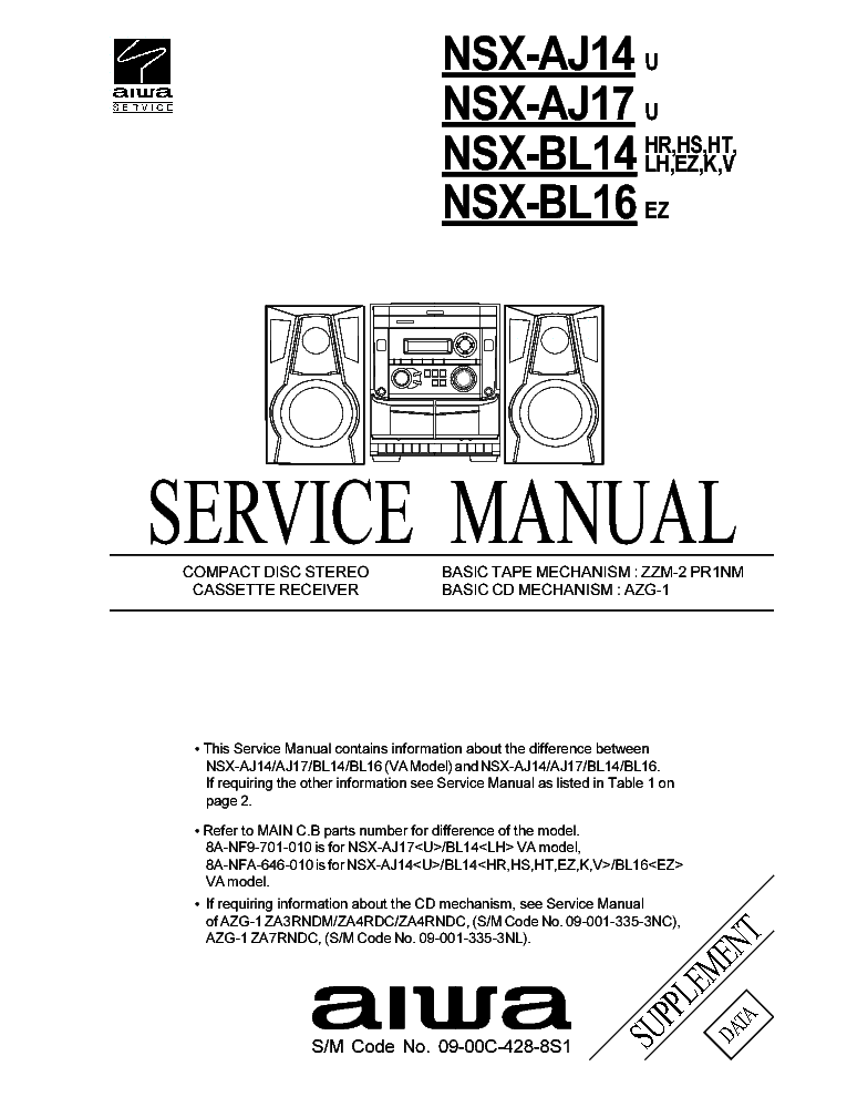 AIWA NSX-V200 Service Manual free download, schematics