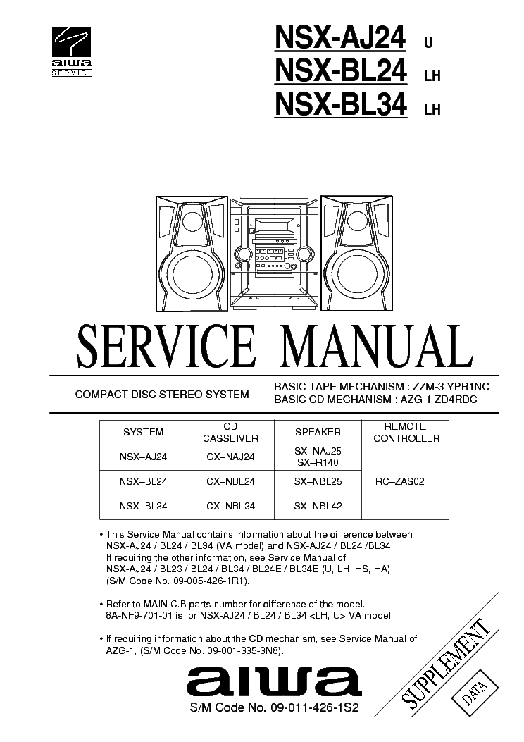 AIWA LCX-100 SCH Service Manual free download, schematics