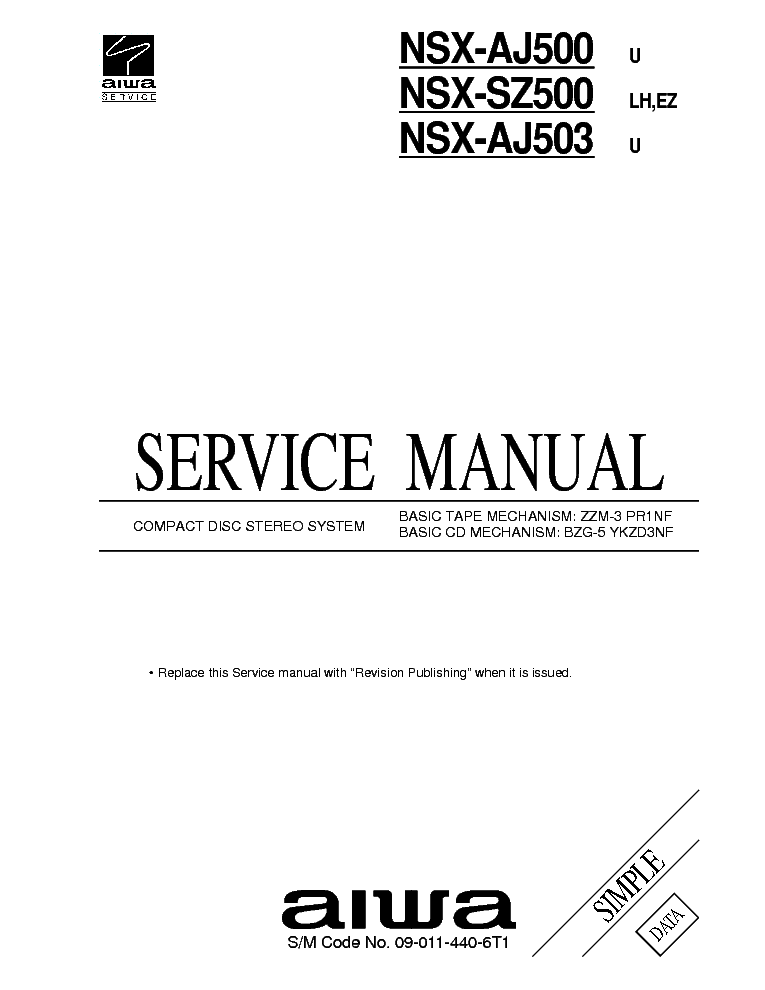 AIWA NSX-AJ500 NSX-AJ503 NSX-SZ500 Service Manual download
