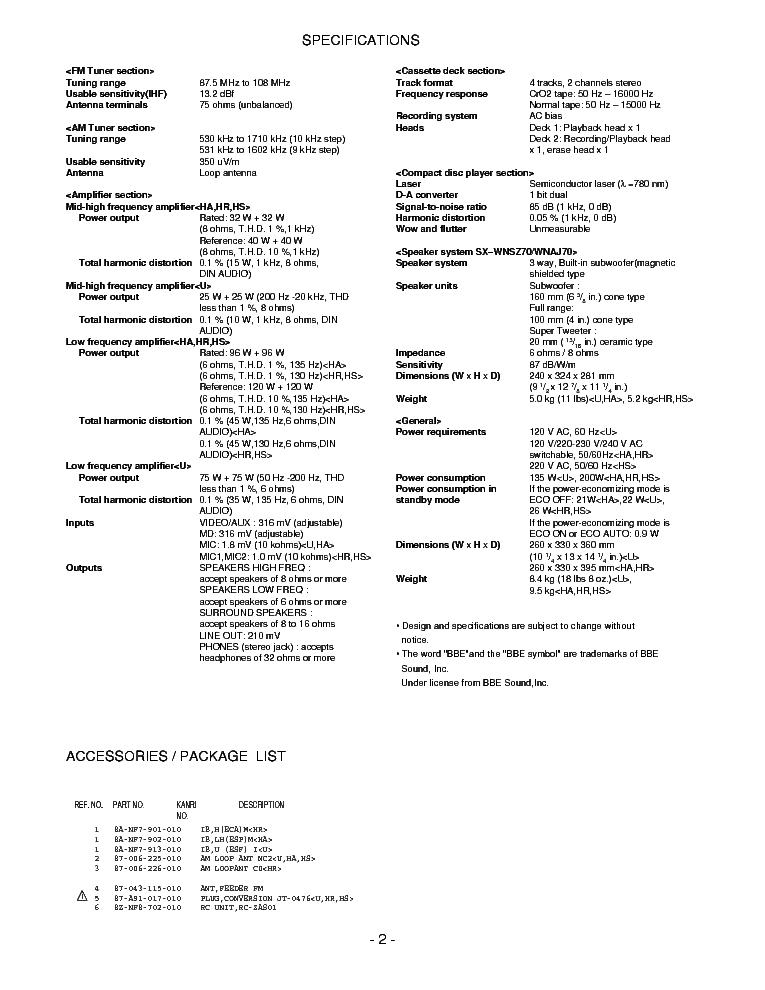 AIWA NSX-AJ70 NSX-SZ70 NSX-SZ70E Service Manual download