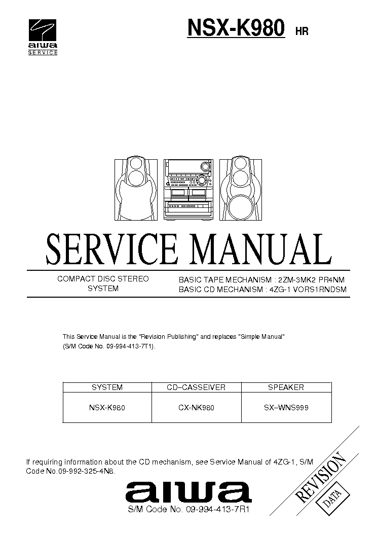 AIWA NSX-K980 SM Service Manual download, schematics