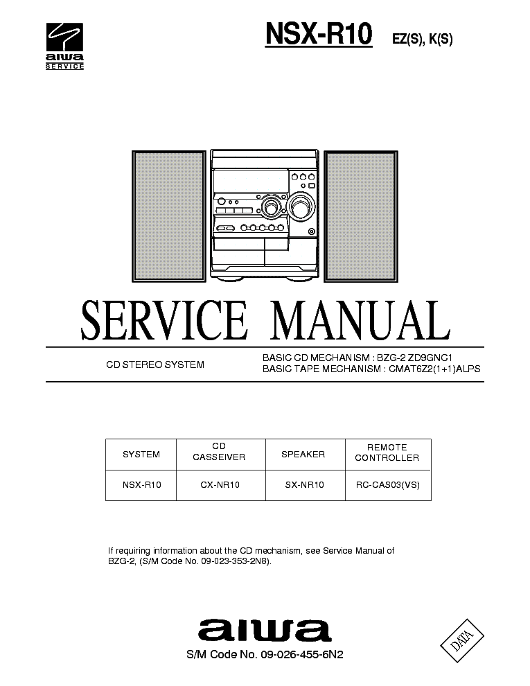 AIWA NSX-R10 Service Manual download, schematics, eeprom