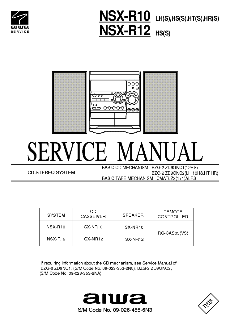 AIWA NSX-R10 R12 SM Service Manual download, schematics