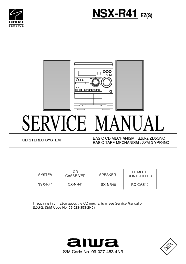 AIWA NSX-R41 SM Service Manual download, schematics
