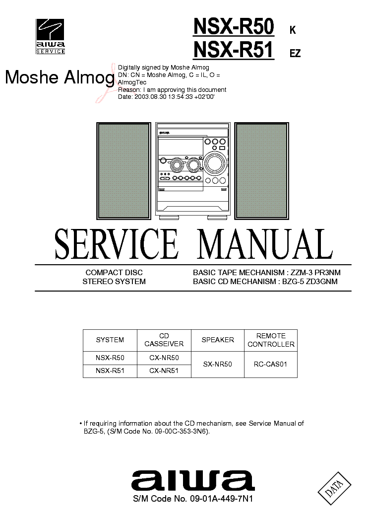 AIWA NSX-R50 R51 SM Service Manual download, schematics