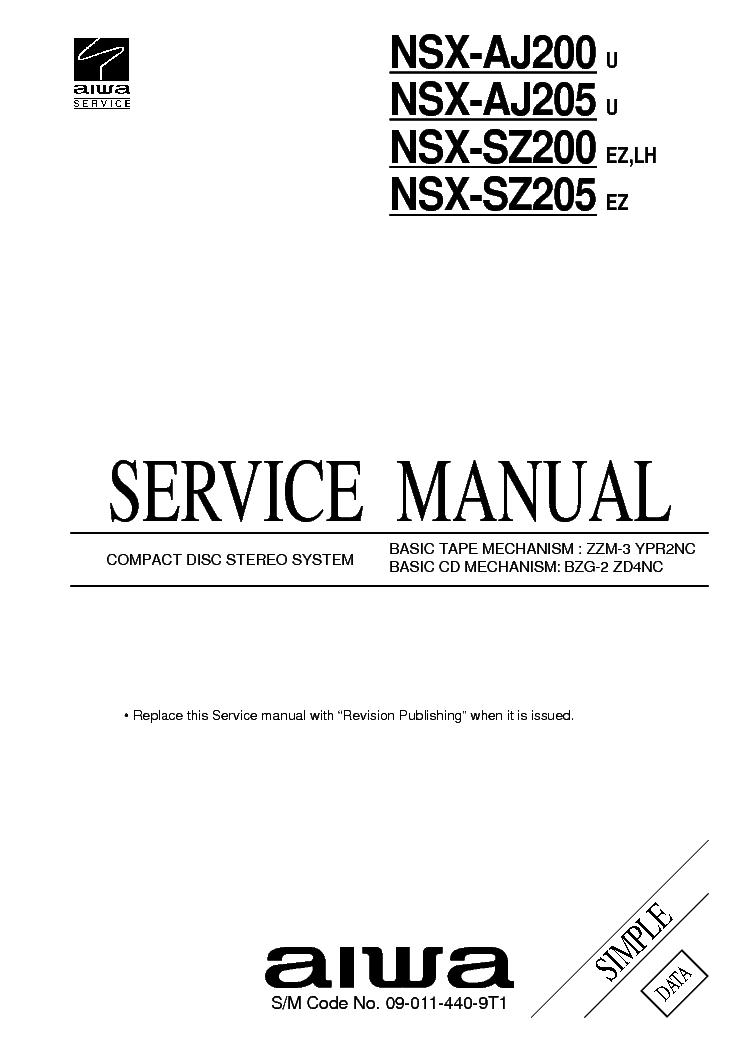 AIWA NSX-SZ200,205 AJ200,205 Service Manual download