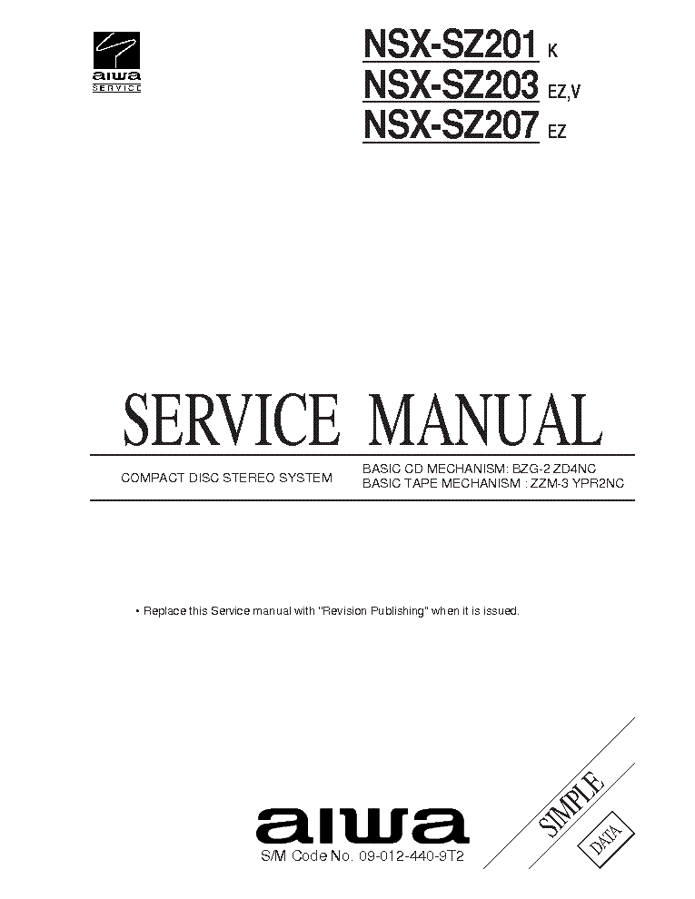 AIWA NSX-VC28 NSX-VC38 NSX-VC43 Service Manual download