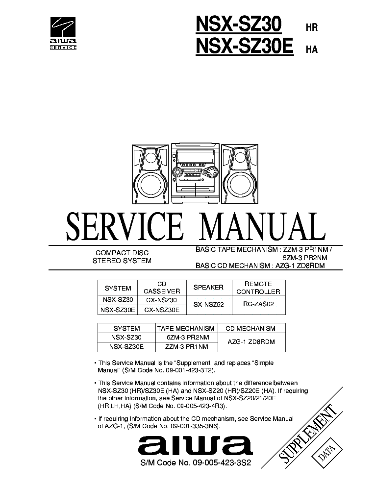 AIWA NSX-D55 SUPP Service Manual download, schematics