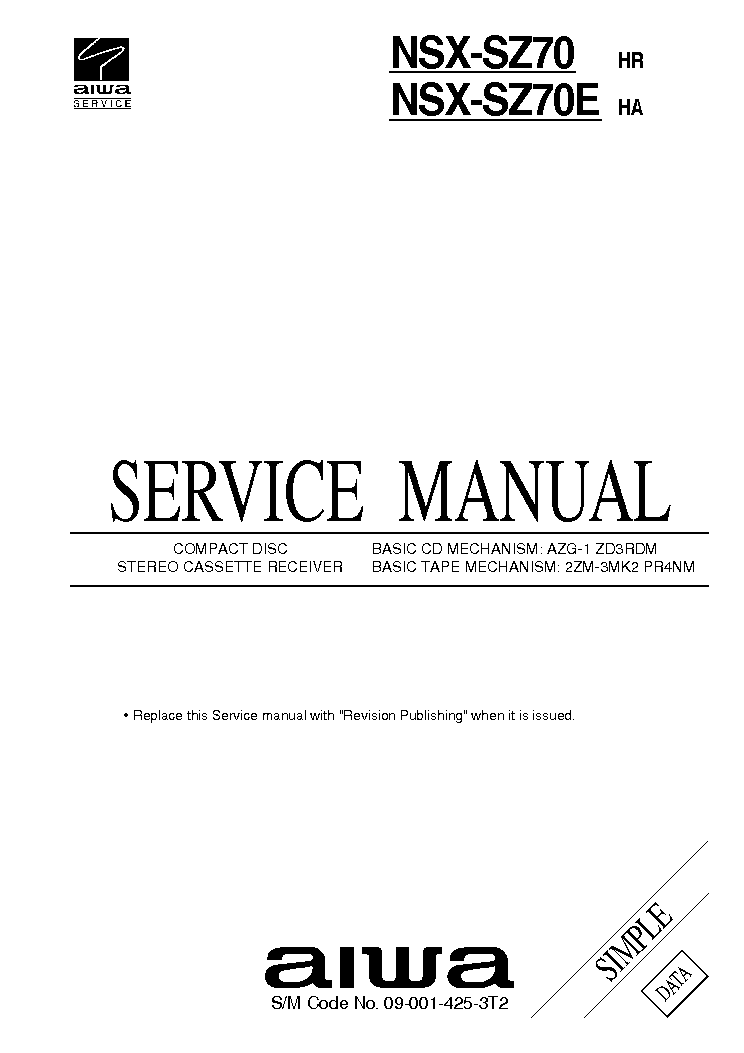 AIWA XR-H2000-EZ-K SM 1 Service Manual download