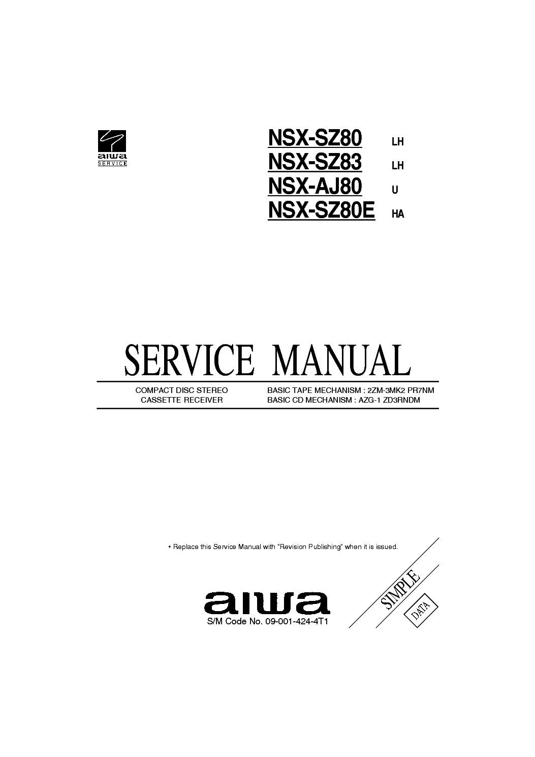 AIWA NSX-SZ80,83 AJ83 Service Manual download, schematics