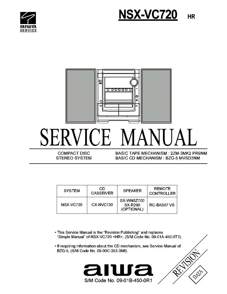 AIWA NSX-VC720 Service Manual download, schematics, eeprom