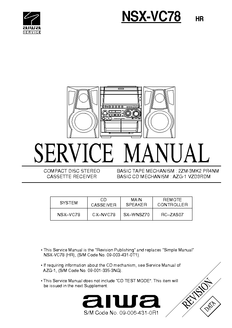 AIWA NSX-200 NSX-230 Service Manual free download