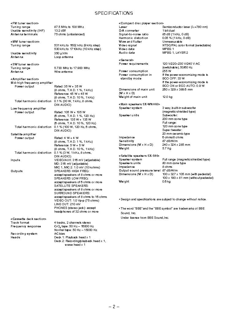 AIWA NSX-VC87 SM Service Manual download, schematics