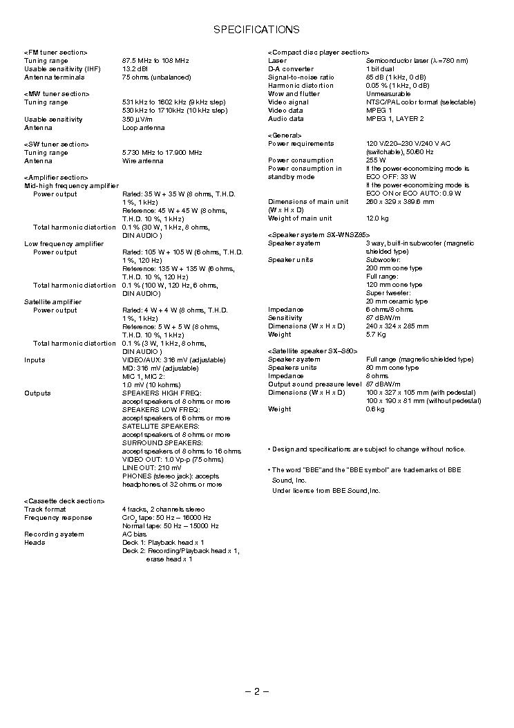 AIWA NSX-VC88 Service Manual download, schematics, eeprom