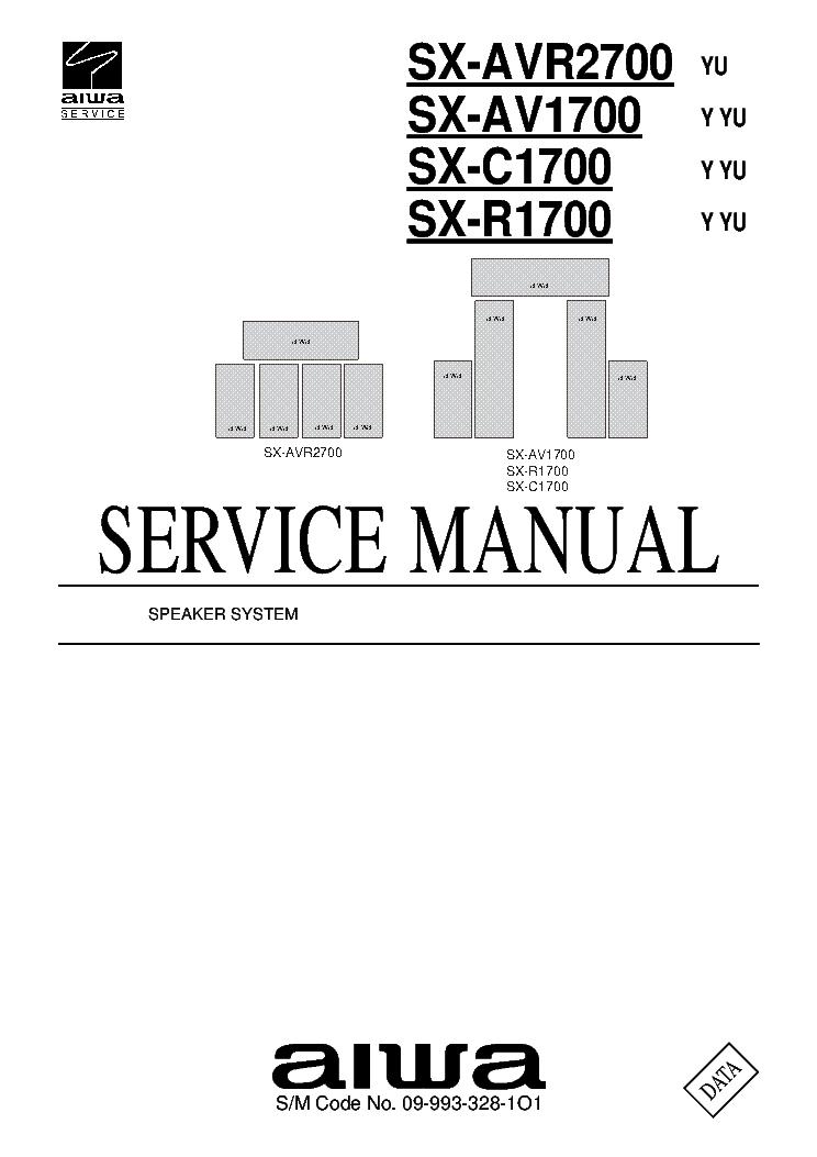 AIWA SX-AVR2700 SX-AV1700 SX-C1700 SX-R1700 09-993-328-1O1
