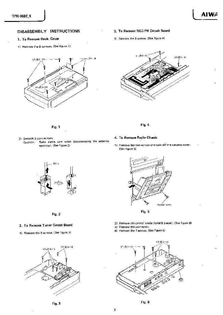 AIWA TPR-968E-K Service Manual download, schematics