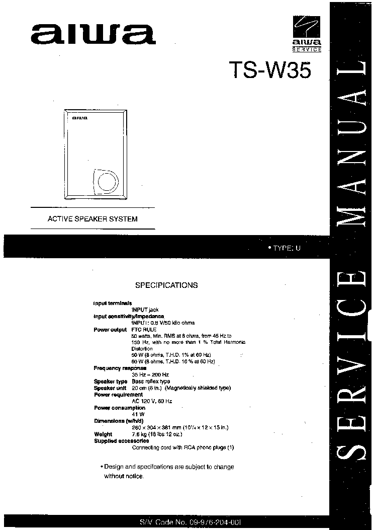AIWA TS-W35 Service Manual download, schematics, eeprom