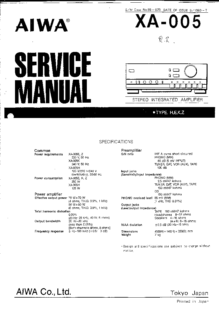 AIWA XA-005 Service Manual download, schematics, eeprom