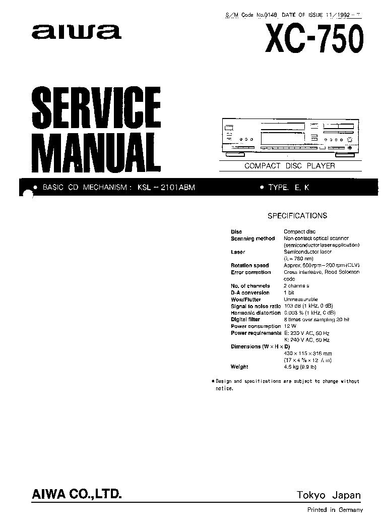 AIWA XC-750 SM Service Manual download, schematics, eeprom