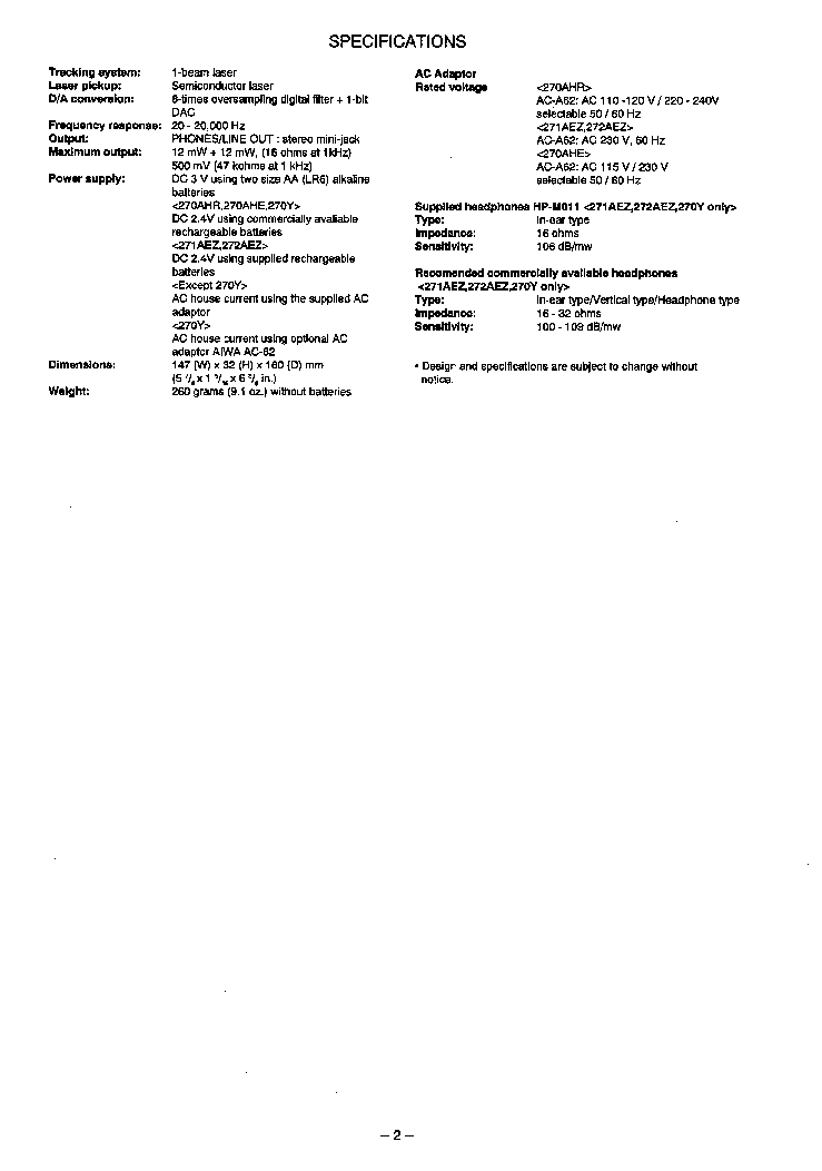 AIWA XP-270 XP-271 XP-272 Service Manual download