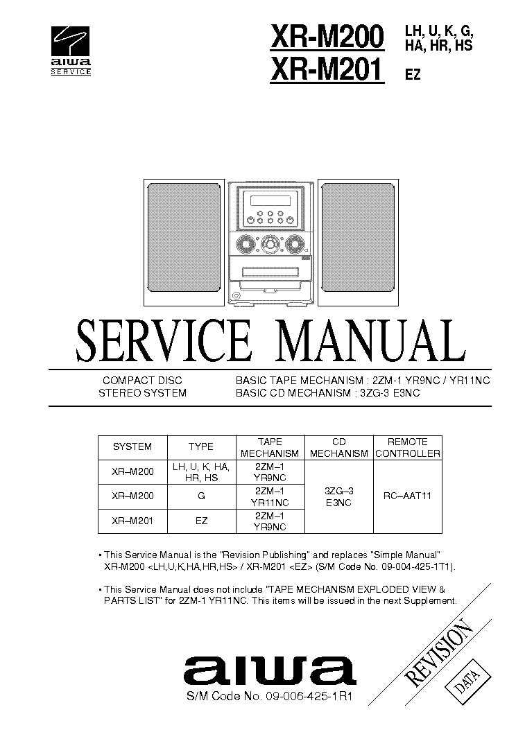 AIWA XR-M200 201 Service Manual download, schematics