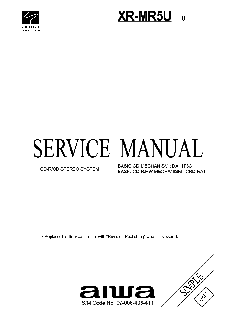 AIWA XR-M25 CD STEREO SYSTEM Service Manual download