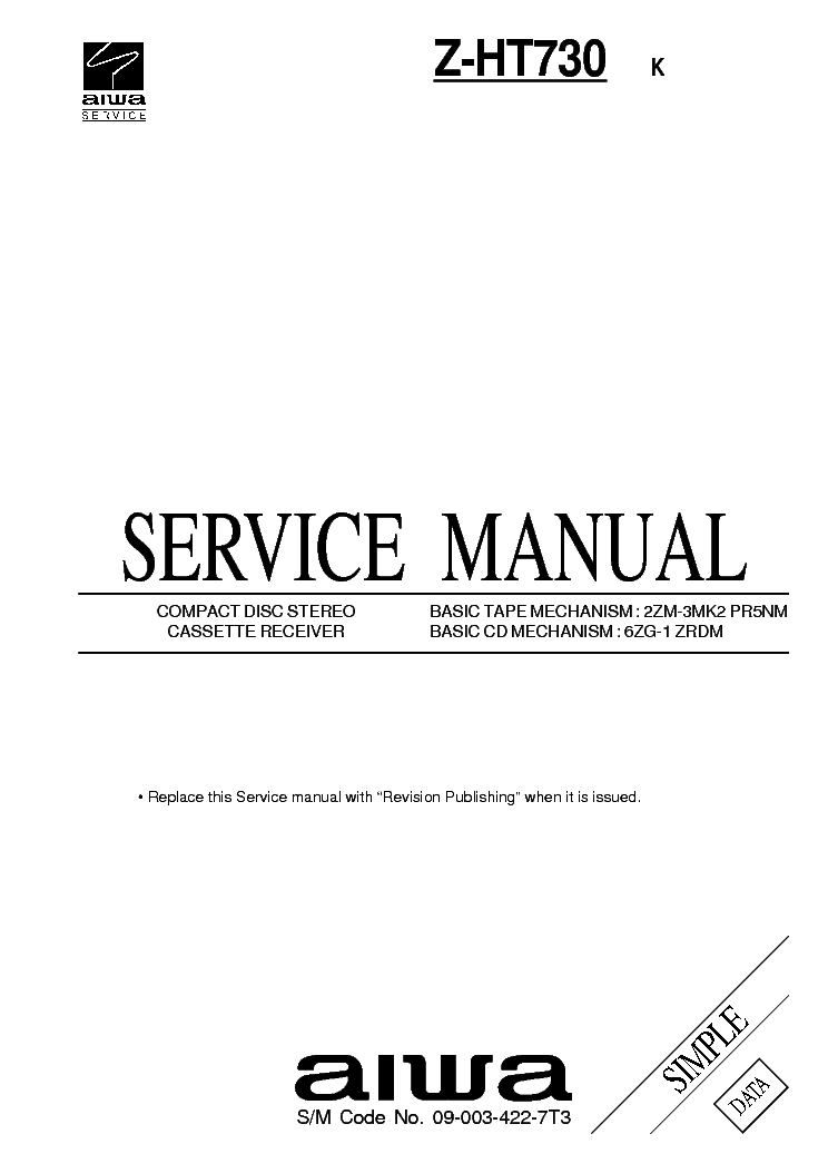 AIWA NSX-S706 NSX-S707 NSX-S708 Service Manual free
