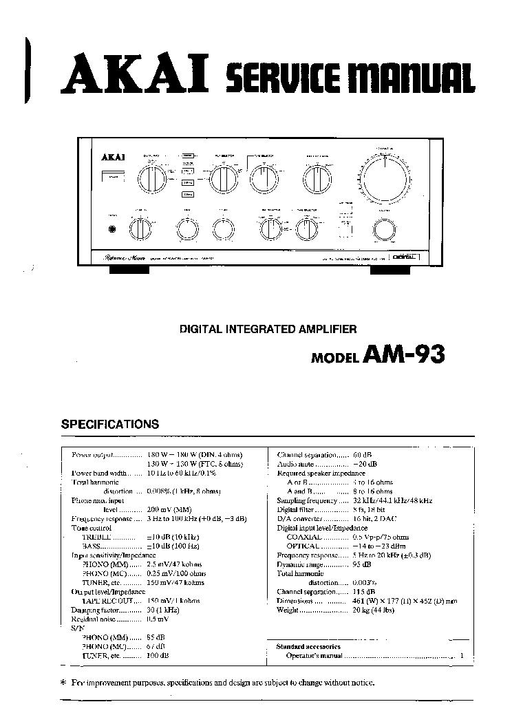 AKAI CS-705D Service Manual download, schematics, eeprom