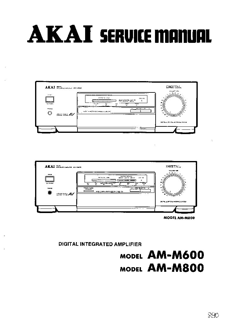 AKAI AM-M600 M800 Service Manual download, schematics