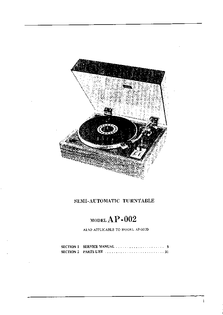 AKAI AP-002 TURNTABLE Service Manual download, schematics