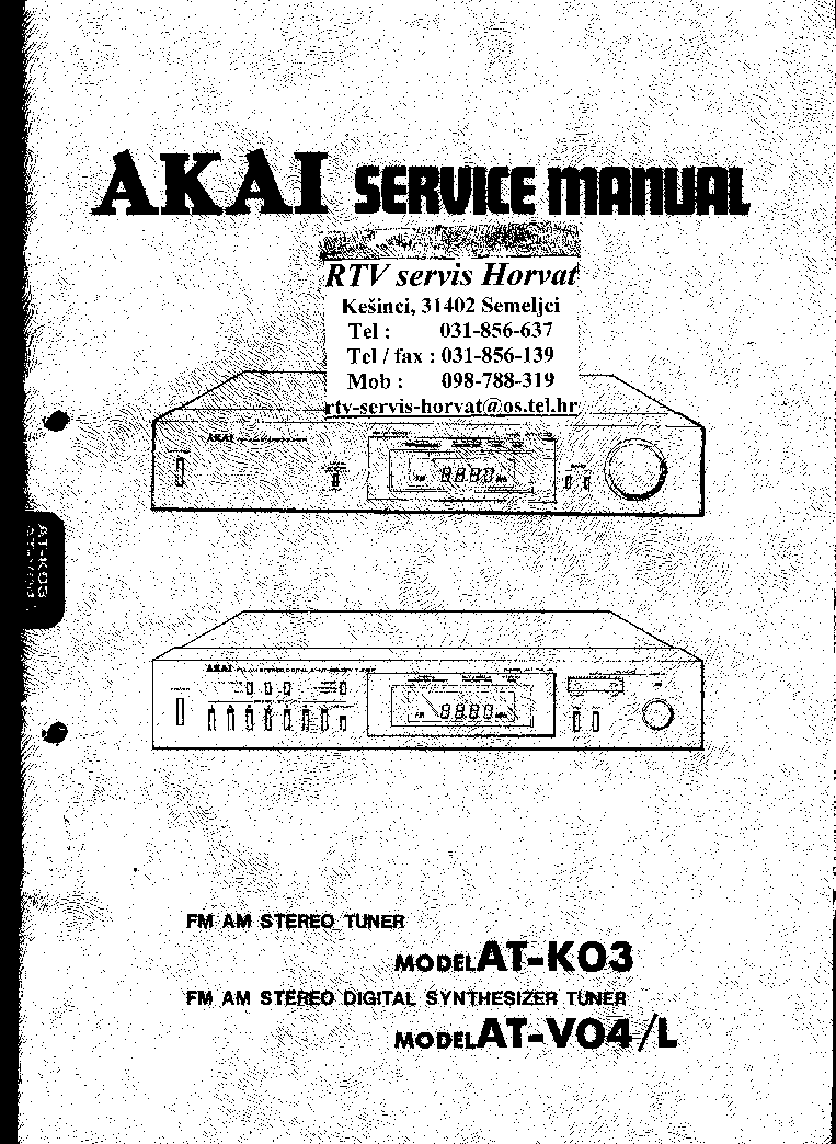 AKAI AT-K03 V04L Service Manual download, schematics