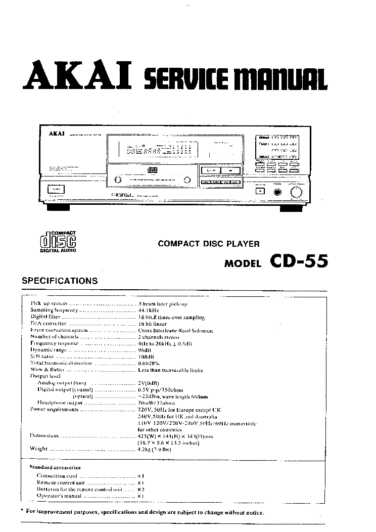 AKAI CD-55 Service Manual download, schematics, eeprom