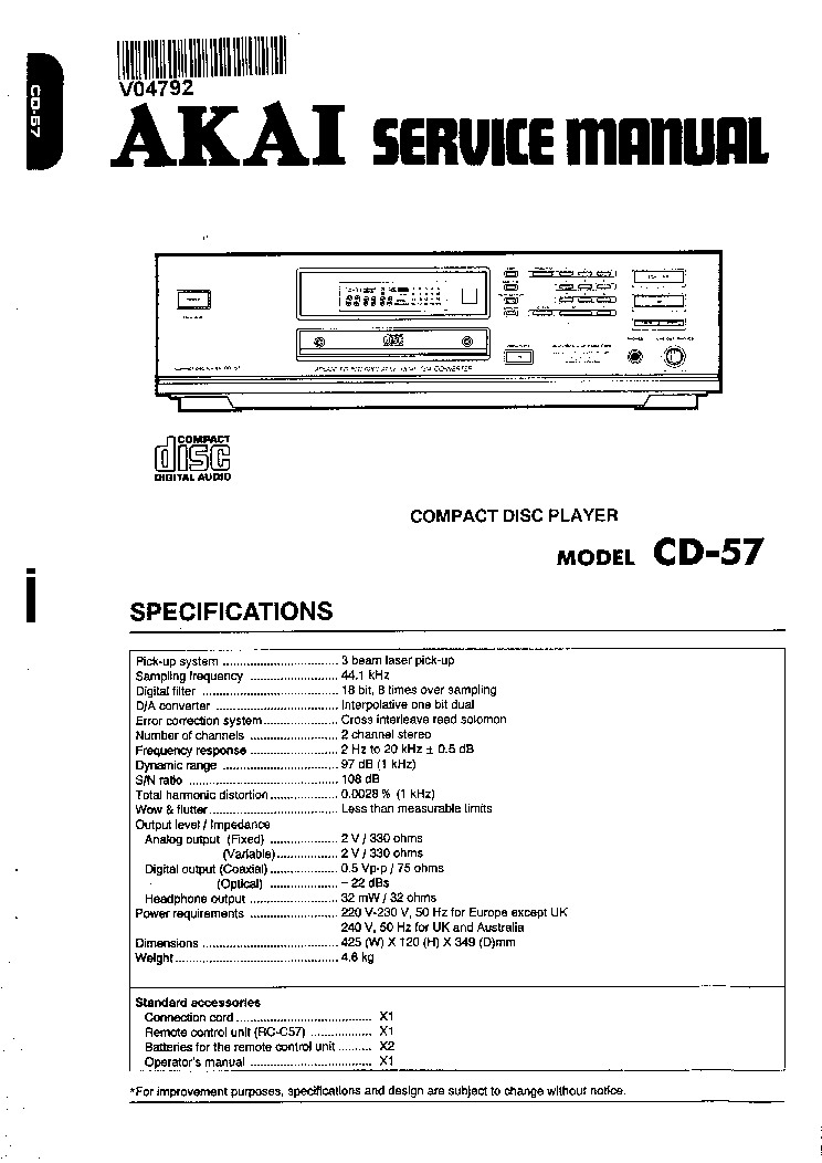 AKAI CD-57 Service Manual download, schematics, eeprom
