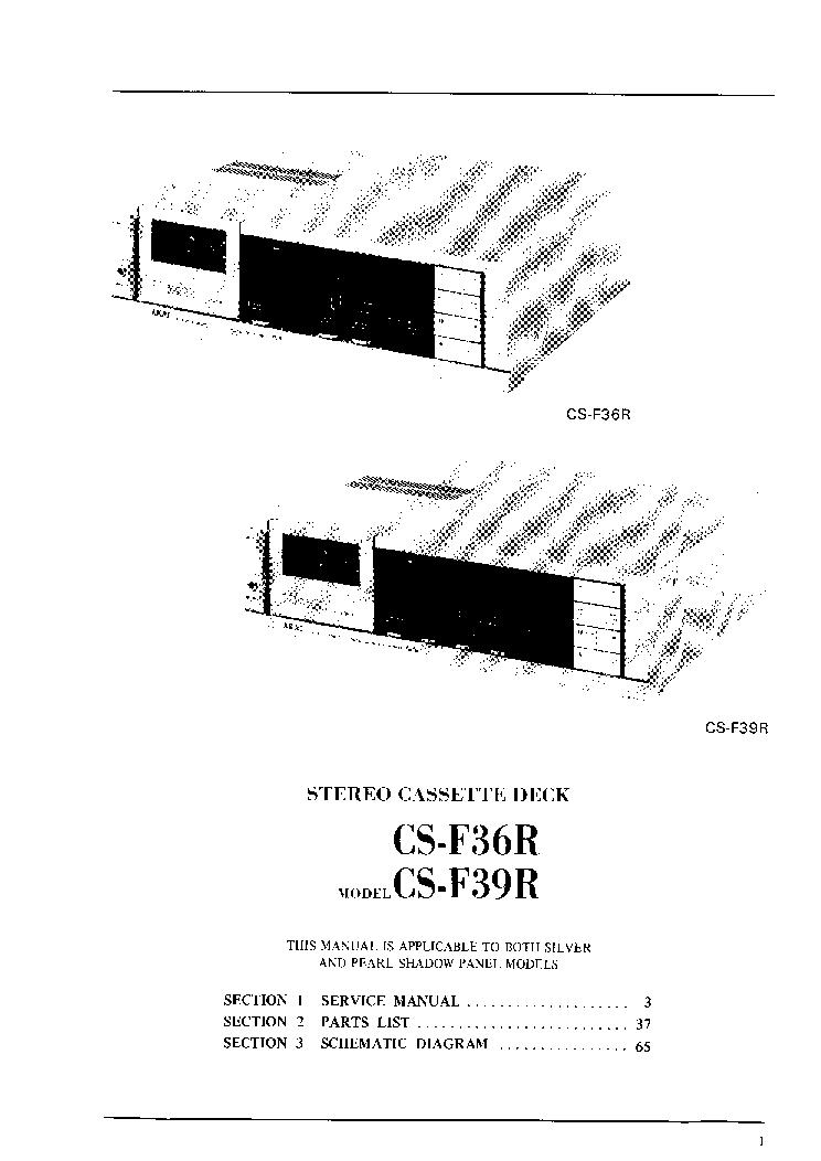 AKAI CS-F36R F39R Service Manual download, schematics