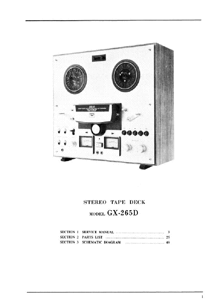 AKAI GX-265D SM Service Manual download, schematics