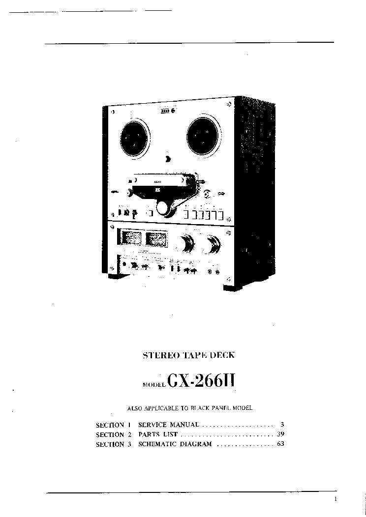 AKAI GX-266-2 SM Service Manual download, schematics