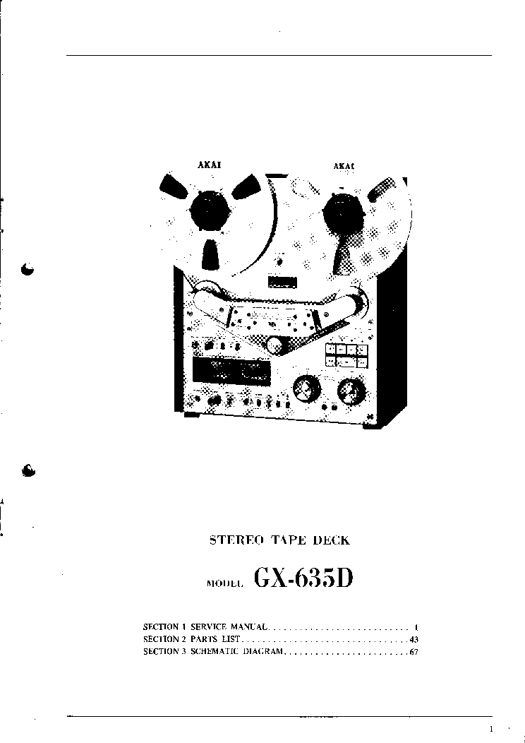 AKAI GX-635D SM Service Manual download, schematics