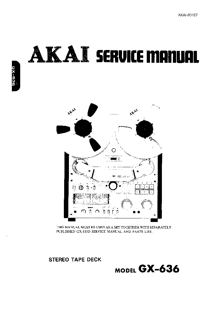 AKAI GX-636 Service Manual download, schematics, eeprom