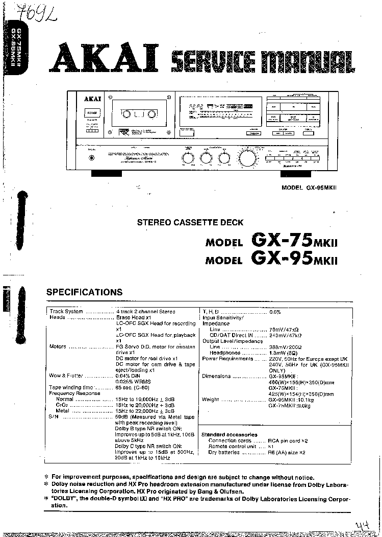 AKAI 4000DS MKII GX4000 SM Service Manual download